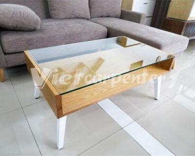 bàn trà sofa mặt kính đẹp phong cách hiện đại viet carpenter