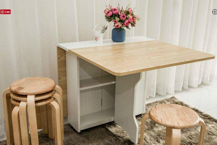Bộ bàn ăn thông minh thiết kế đa năng dễ dàng gấp gọn được làm từ chất liệu gỗ với giá thành siêu rẻ được làm bởi việt carpenter