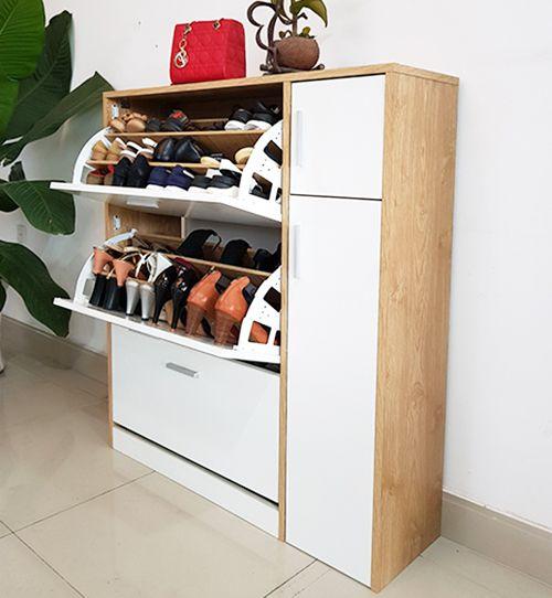 kệ giày dép thông minh 3 tầng có ngắn chứa mũ bảo hiểm chưa tối đa 25 đôi giày dép