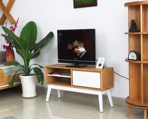 kệ tivi gỗ sồi tự nhiên nhỏ gọn đơn giản kích thước dài 1,2m