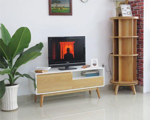 kệ tivi phòng khách đẹp hiện tông chủ đạo màu trắng kích thước 1.4m