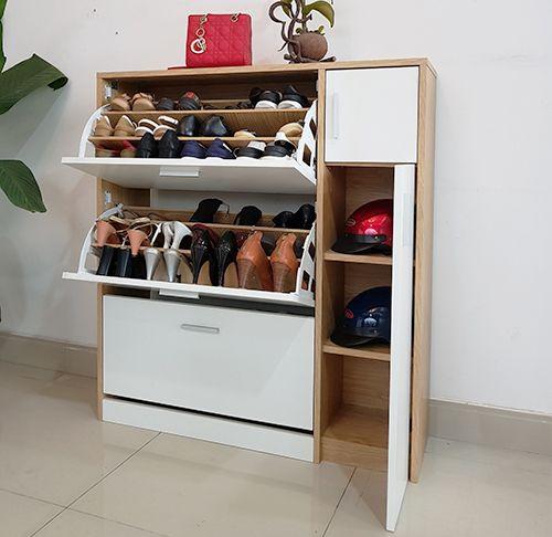 tủ giày lật thông minh màu trắng hiện đại
