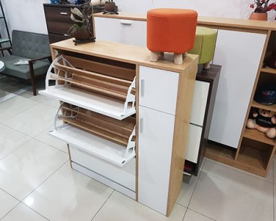 tủ giày thông minh giá rẻ vtg03 với thiết kế màu trắng chất liệu được làm bằng gỗ công nghiệp chống nước bảo hành 1 năm