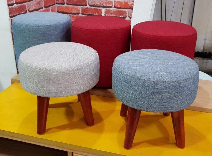 ghế đôn sofa hình tròn chân gỗ