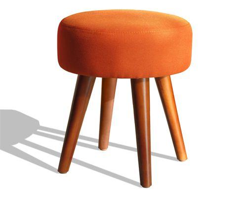 ghê đôn tròn đẹp chất liệu nệm bọc da màu da cam