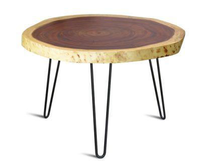 bàn trà phòng khách mặt gỗ tự nhiên thiết kế theo phong cách hiện đại kết hợp retro đầy thơ mộng