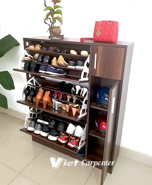 tủ giày dép thong minh 4 tầng 3 ngăn gỗ mfc vtg08