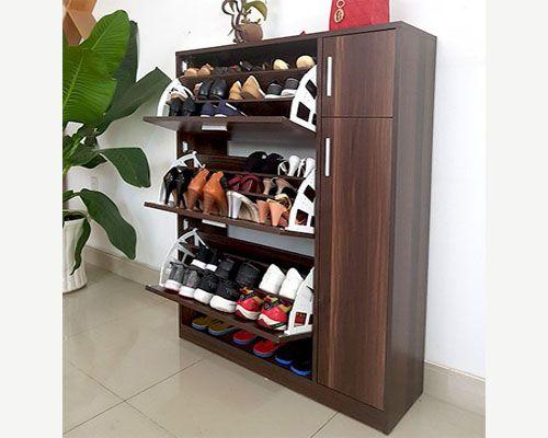 mẫu tủ giày thông minh vân gỗ màu đen chống nước thiết kế hiện đại đa năng áp dụng cho mọi không gian chật hẹp hay rộng lớn