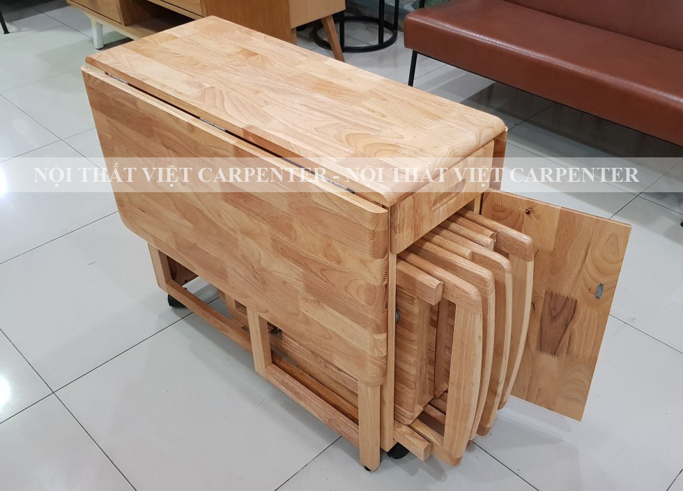 Bàn ăn 4 ghế xếp gọn gỗ cao su tự nhiên