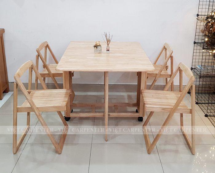 bàn ăn thông minh gỗ tự nhiên xếp gọn có bánh xe đẩy vba10