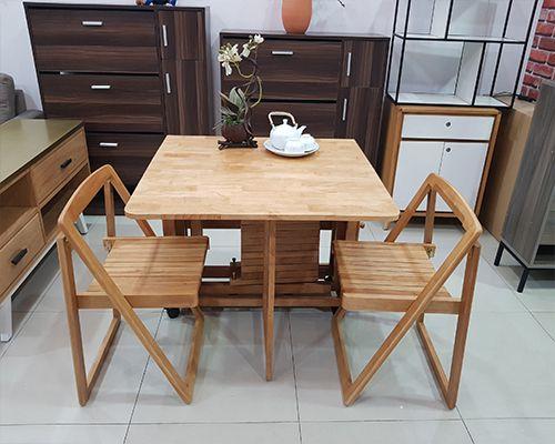 mẫu bàn ăn xếp gọn thông minh giá rẻ siêu đẹp chất liệu gỗ cao su tự nhiên
