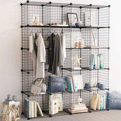 Mẫu thiết kế tủ kệ lưới sắt lắp ghép từng ô với nhau rất đa năng có thể dùng làm tủ quần áo, tủ giày, kệ trang trí, kệ sách, chuồng nuôi thú cưng với ưu điểm giá rẻ tiện dụng