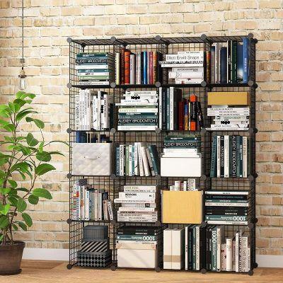 kệ tủ đựng sách lắp ghép thông minh chất liệu bằng lưới sắt dễ tháo rời có thể trang trí góc học tập, góc làm việc hoặc làm tủ đựng quần áo phòng ngủ, trang trí tủ kệ phòng khách để đồ sinh hoạt