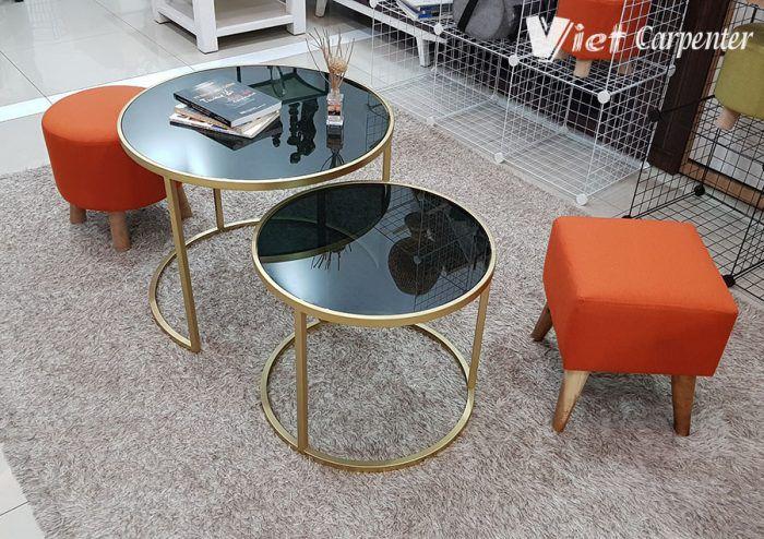 bàn sofa mặt kính chân sắt mạ vàng siêu đẹp