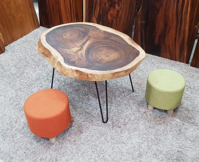 bàn trà chân sắt nghệ thuật