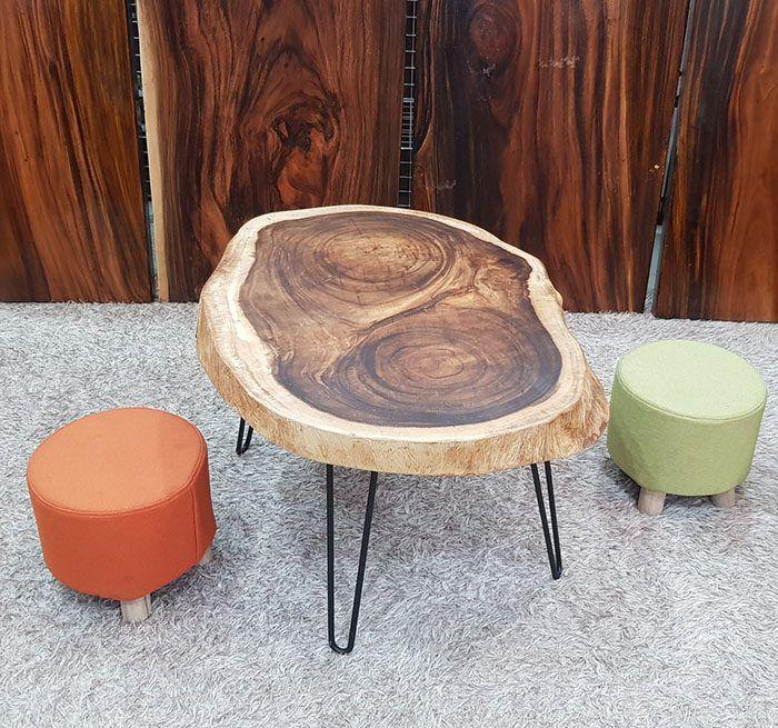 bàn trà gỗ tự nhiên chân sắt nghệ thuật