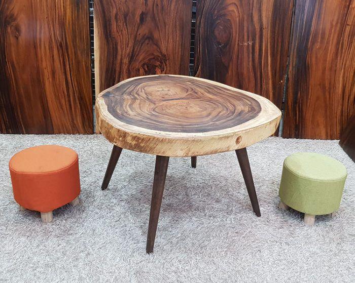 bàn trà sofa hình tròn gỗ trự nhiên nguyên khối thiết kế khá đẹp