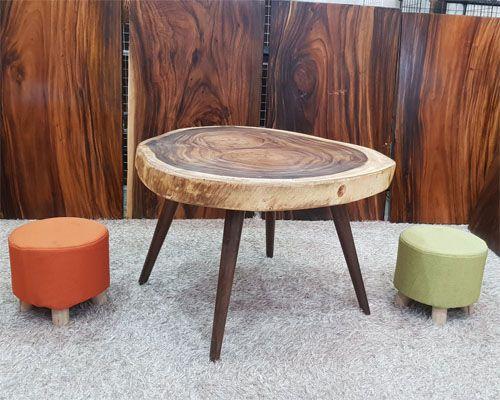 bàn uống nước hình tròn gỗ tự nhiên