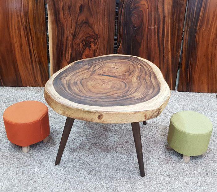 bàn uống nước tròn gỗ nguyên tấm