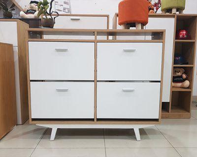 tủ giày thông minh đẹp 4 cánh lật vtg 09 chất liệu gỗ mdf chống thấm chống nước