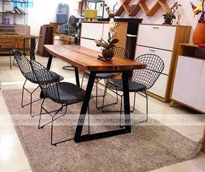 bàn ăn 4 ghế gỗ nguyên tấm giá rẻ