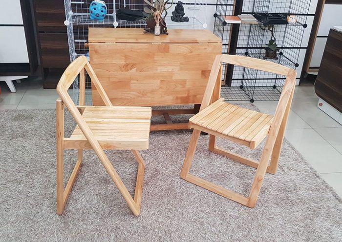 bộ bàn ăn thông minh gỗ tự nhiên xếp gọn