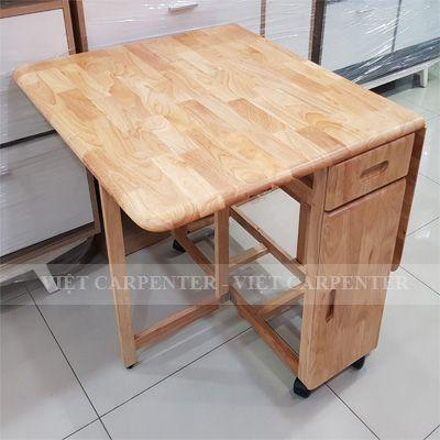 Bàn ăn thông minh xếp gọn gỗ tự nhiên thiết kế có bánh xe đẩy dễ di chuyển