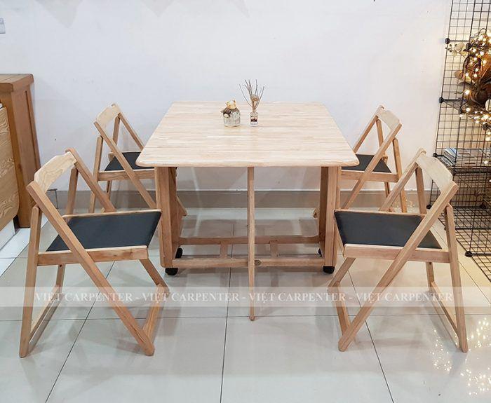 bàn ăn thông minh xếp gọn phù hợp chung cư căn hộ gỗ tự nhiên