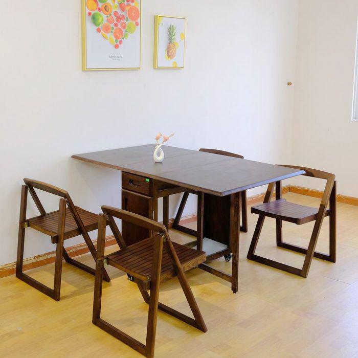 bàn ăn thông minh 4 ghế xếp gọn màu walnut nâu