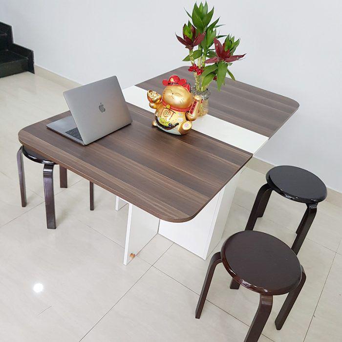 Bàn ăn thông minh 4 ghế màu nâu walnut gỗ mdf