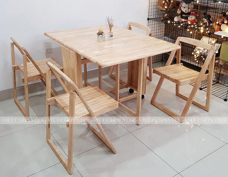 bàn ăn thông minh 4 ghế xếp gọn gỗ tự nhiên vba 11