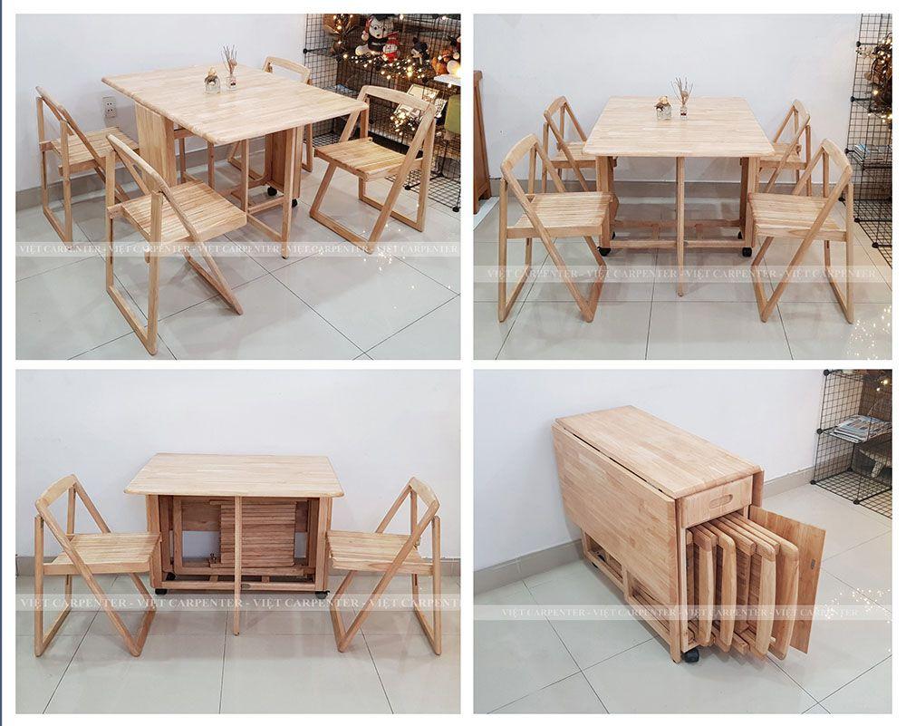 Bàn ăn xếp gọn thiết kế có bánh xe gỗ tự nhiên dài 1.2m màu vân gỗ