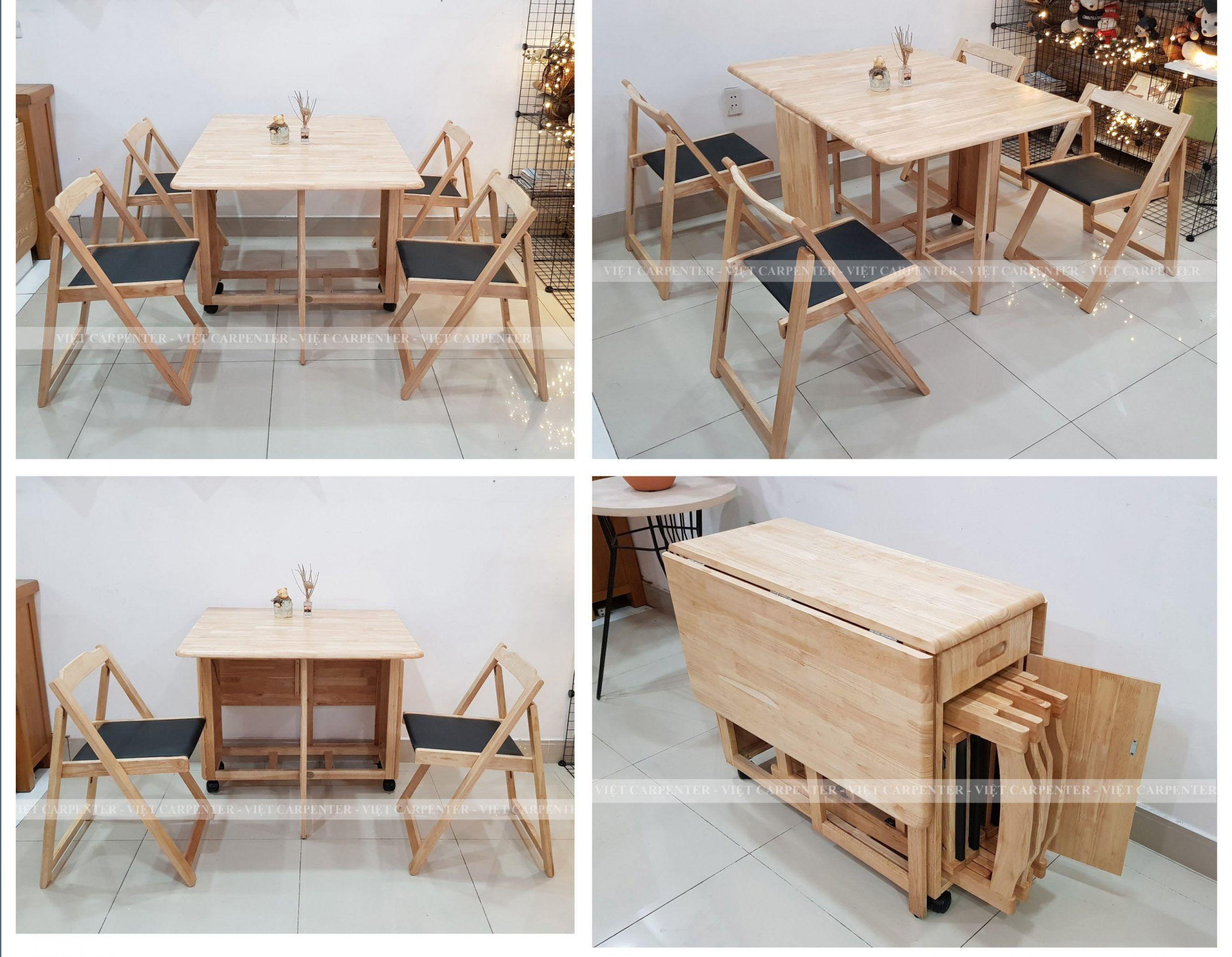 Bộ bàn ăn thông minh 4 đến 6 người ngồi thiết kế có bánh xe và ghế ngồi được bọc nệm