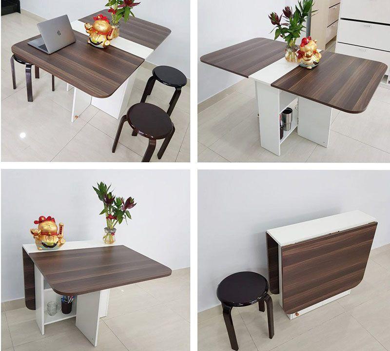Bộ bàn ăn thông minh xếp gọn 2 cánh và mở rộng khi sử dụng với giá rất rẻ màu nâu vba-09