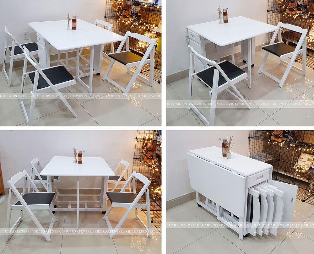 Bộ bàn ăn thông minh xếp gọn 4 đến 6 người ngồi màu trắng giá siểu rẻ mà đẹp
