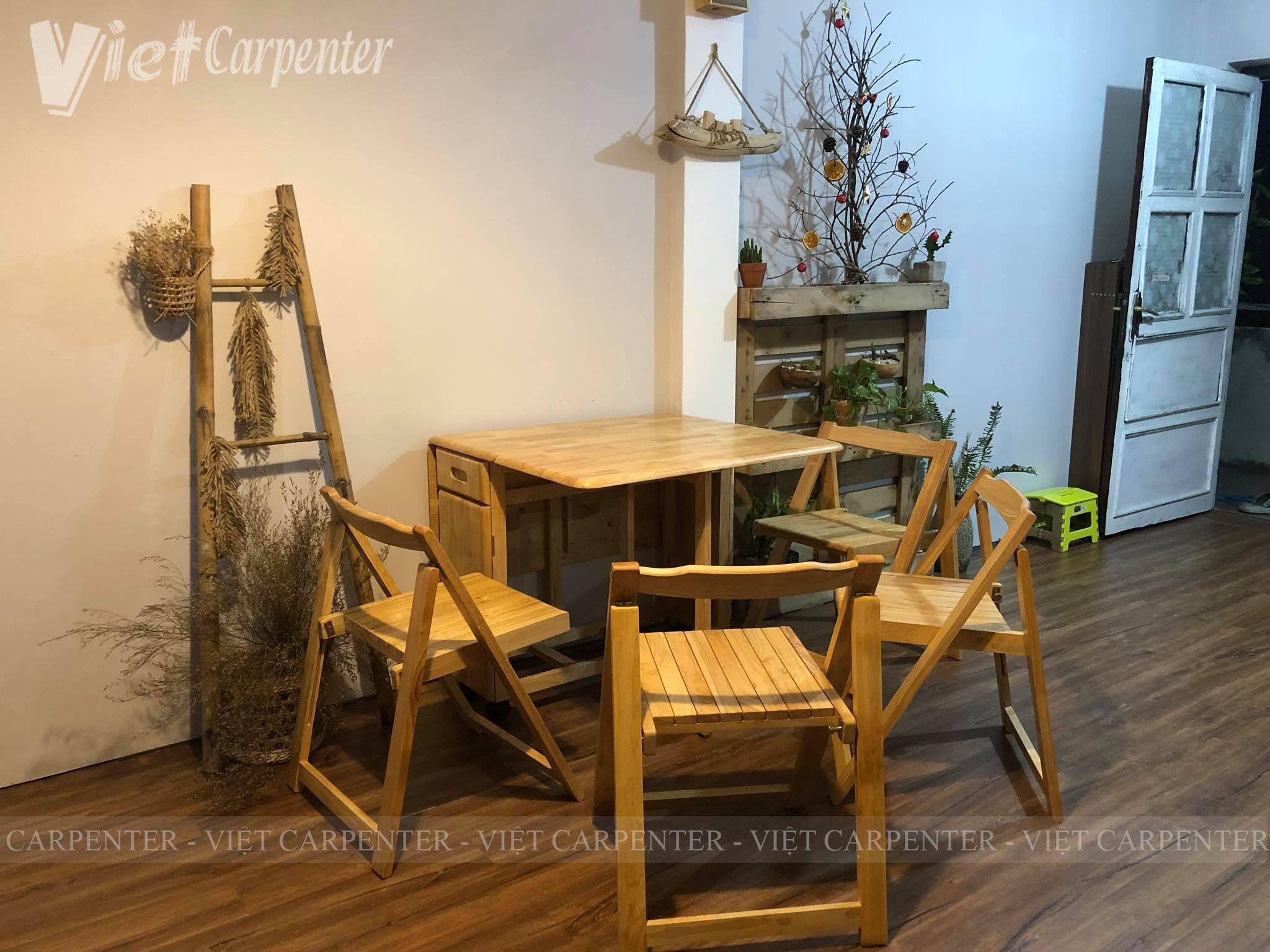 bàn xếp thông minh gỗ tự nhiên