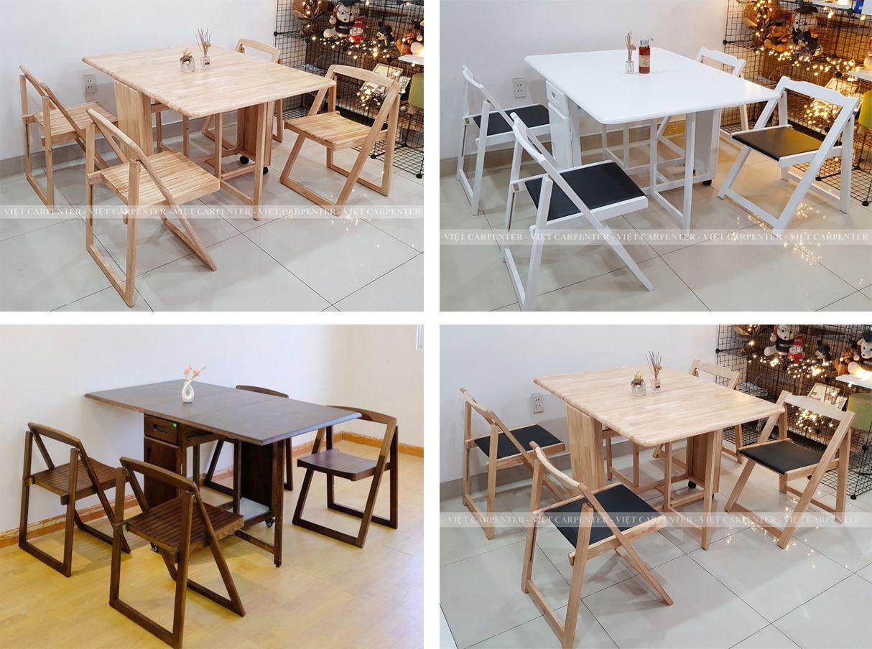 Bộ bàn ăn thông minh gấp gọn thiết kế xếp gọn 2 cánh kéo dài chất liệu gỗ tự nhiên